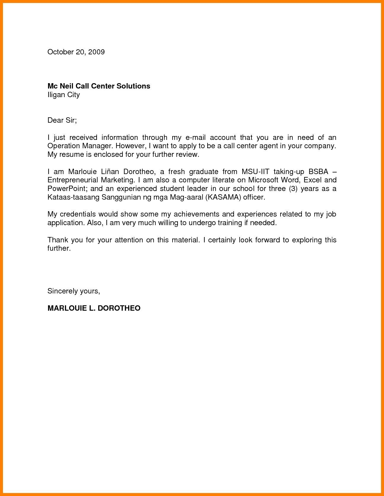 009 Simple Cover Letter Sample Template For Fresh Graduate In Marketing Photo Full