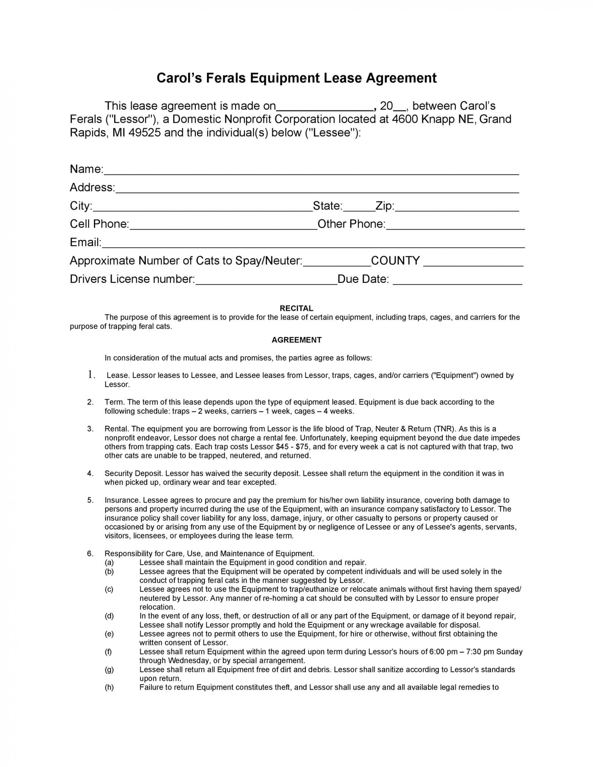 009 Simple Equipment Lease Contract Template Free Photo  Agreement Word1920