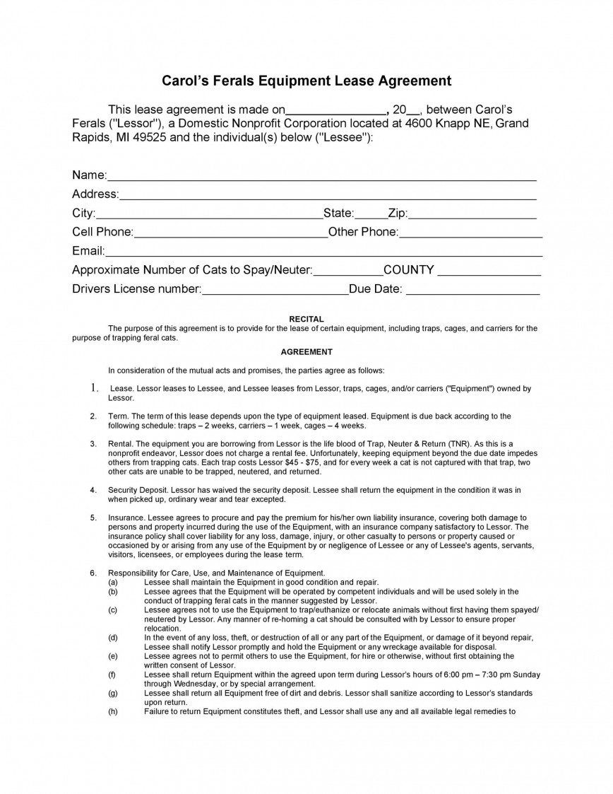 009 Simple Equipment Lease Contract Template Free Photo  Rental Agreement Uk South Africa