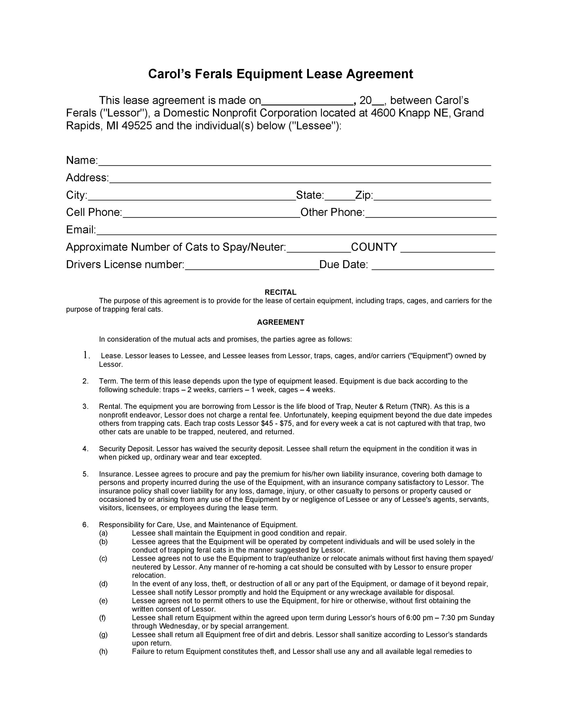 009 Simple Equipment Lease Contract Template Free Photo  Agreement WordFull