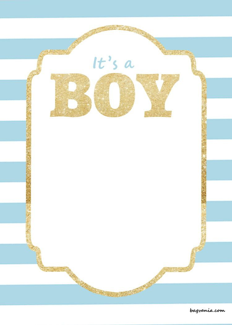 009 Simple Free Baby Shower Invitation Printable Boy Image  For Twin And GirlFull
