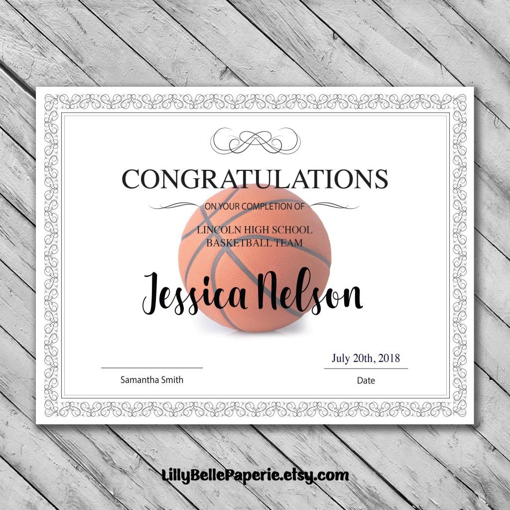009 Simple Free Printable Basketball Certificate Template Inspiration  TemplatesLarge