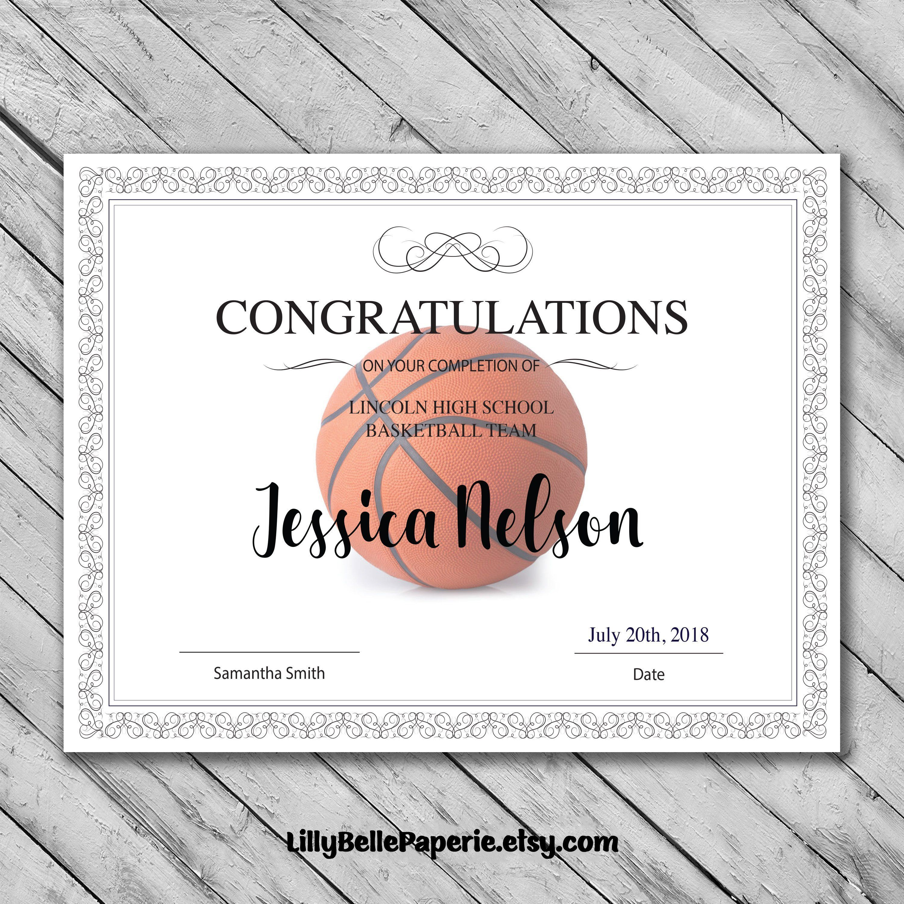 009 Simple Free Printable Basketball Certificate Template Inspiration  TemplatesFull