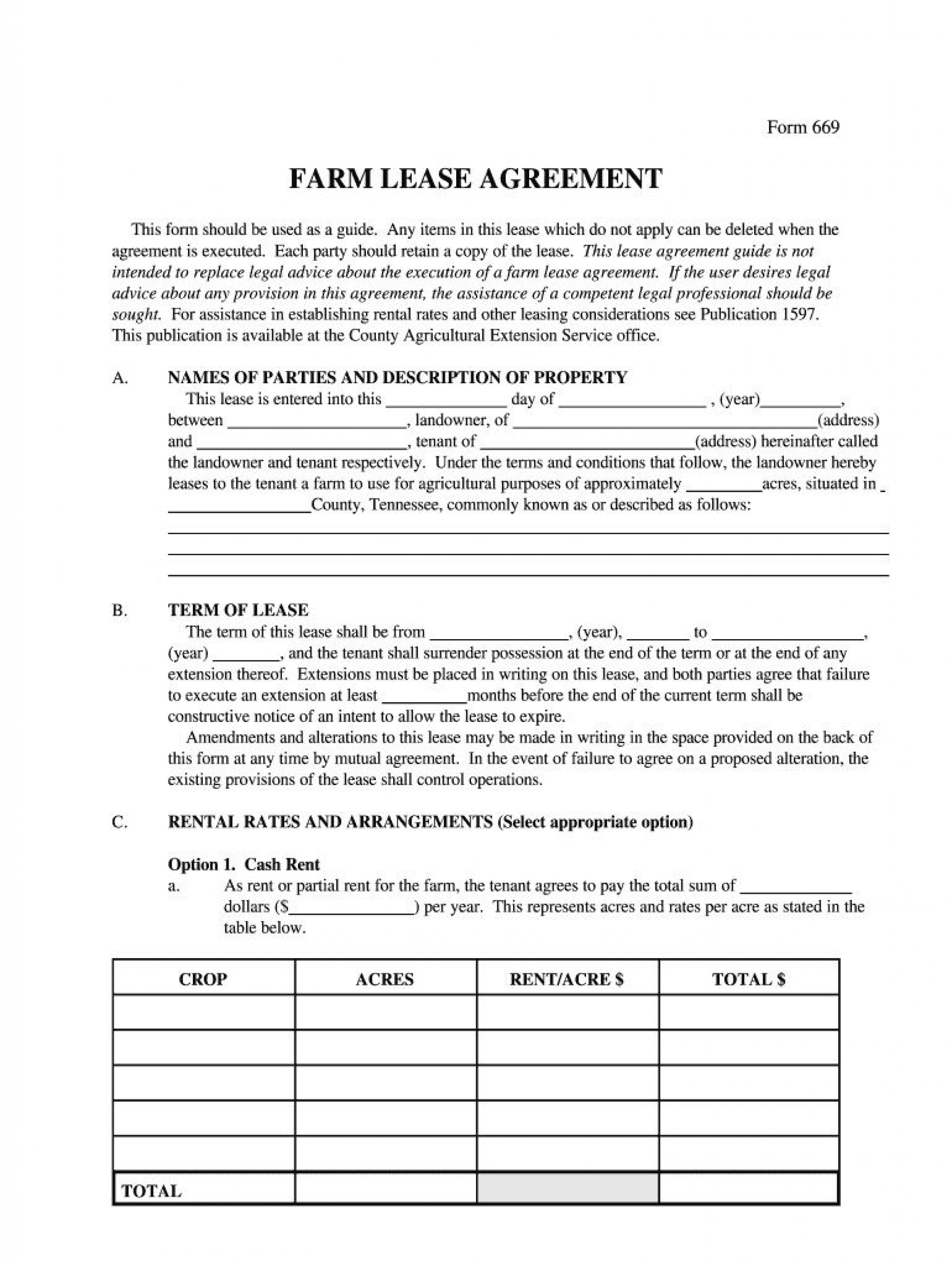 009 Simple Land Lease Agreement Template Design  Templates Uk Farm Free1920