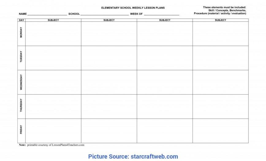009 Simple Printable Lesson Plan Template For Teacher Idea  Teachers