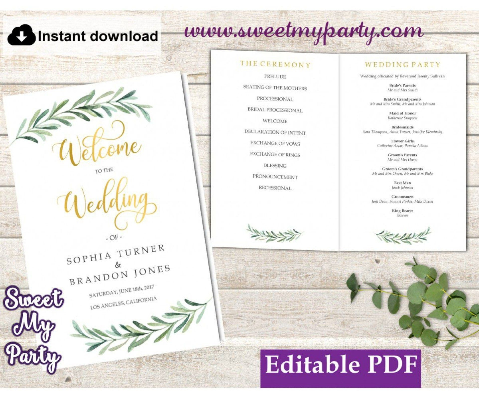 009 Simple Wedding Order Of Service Template Free High Definition  Front Cover Download Church1920