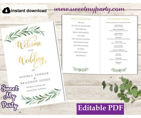 009 Simple Wedding Order Of Service Template Free High Definition  Front Cover Download Church480