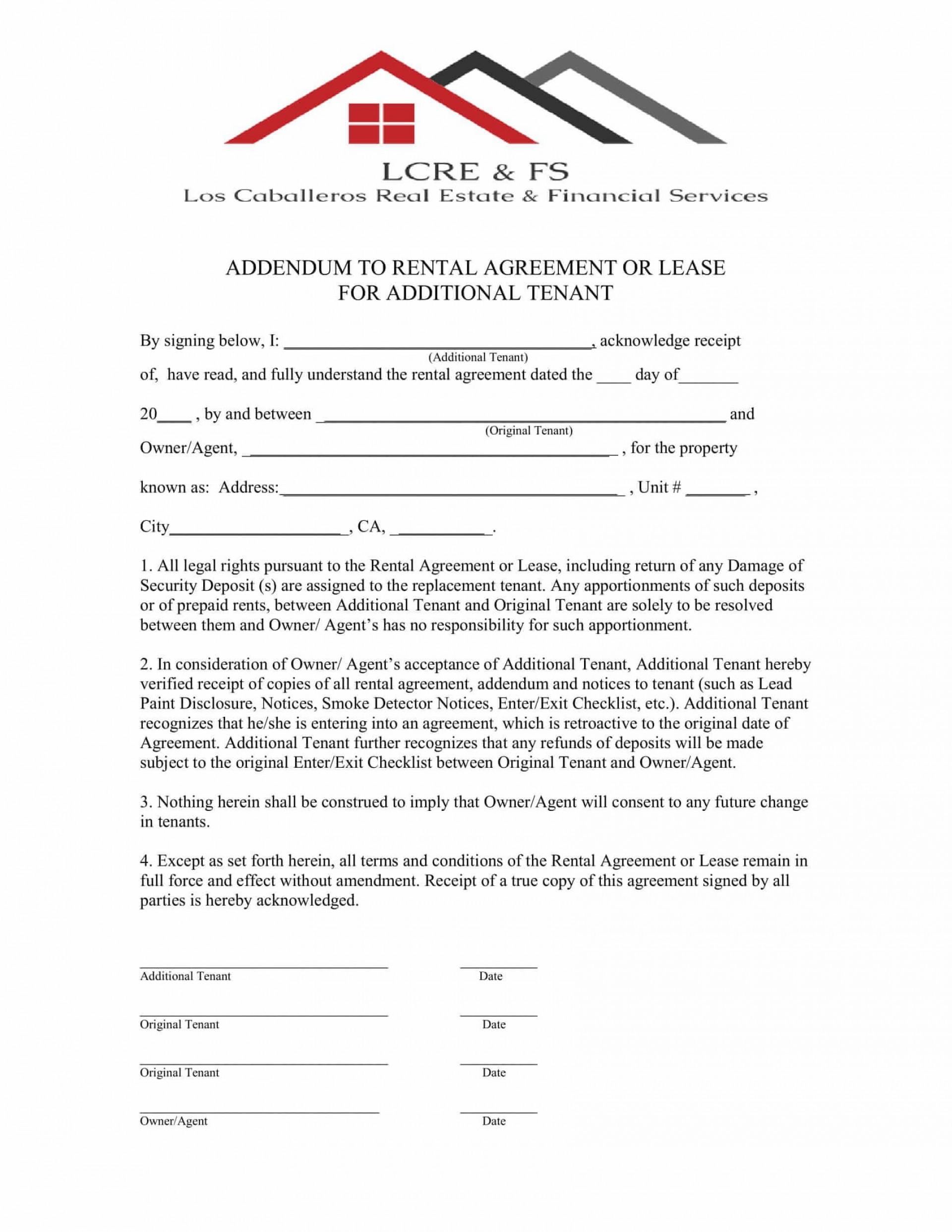 009 Singular Addendum Form For Rental Agreement Highest Quality 1920