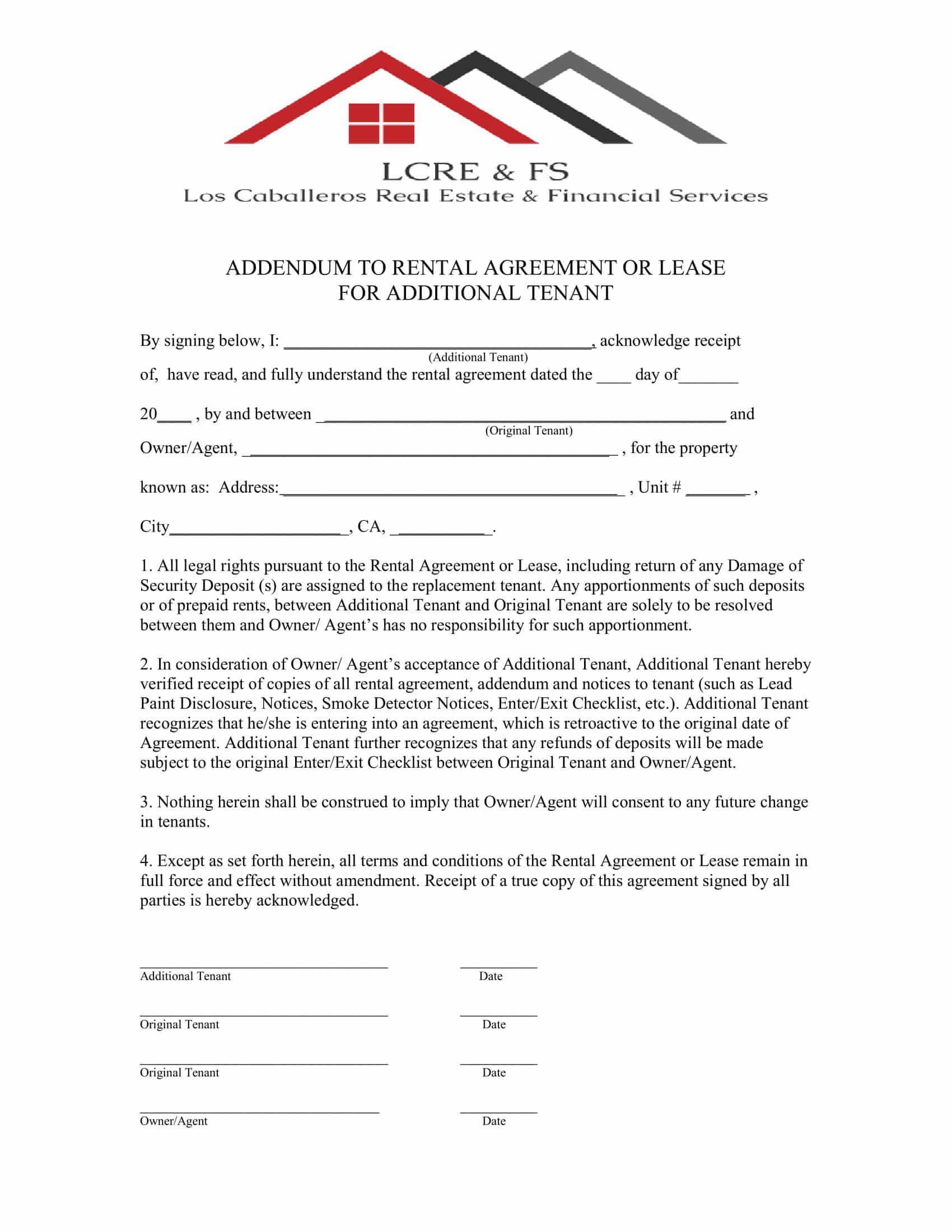 009 Singular Addendum Form For Rental Agreement Highest Quality Full