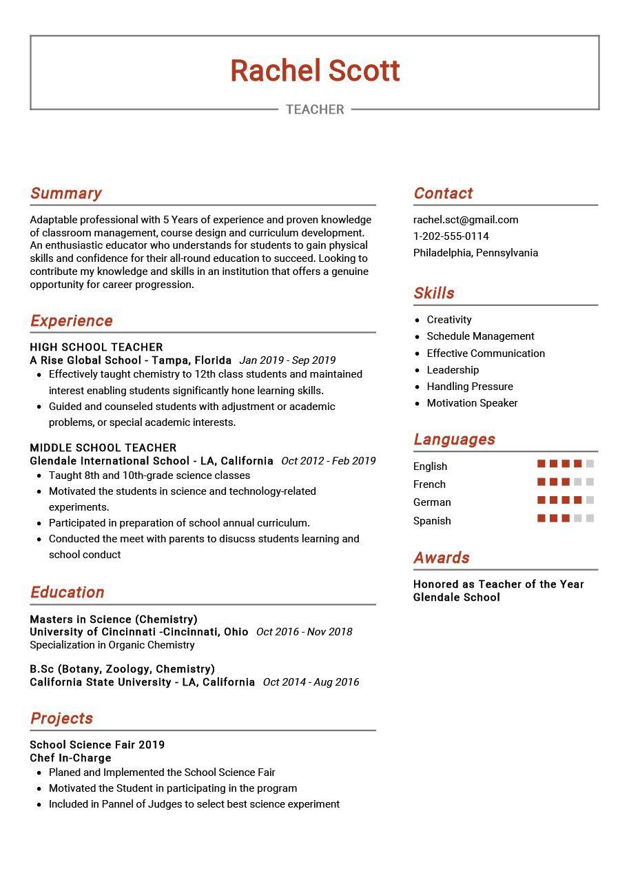 009 Singular Cv Template For Teaching Inspiration  Sample Teacher Assistant Modern Word Free Download JobFull