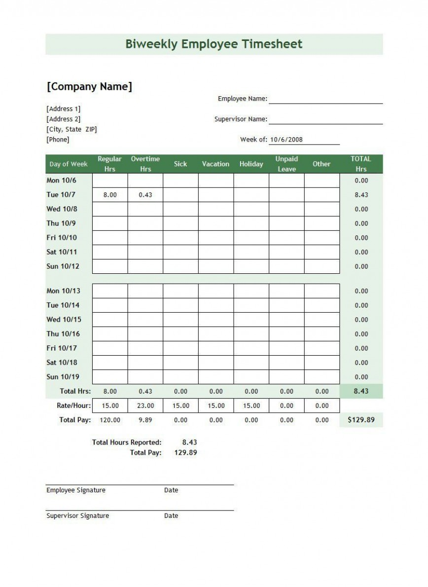 009 Singular Excel Time Card Template Photo  Microsoft Free Weekly