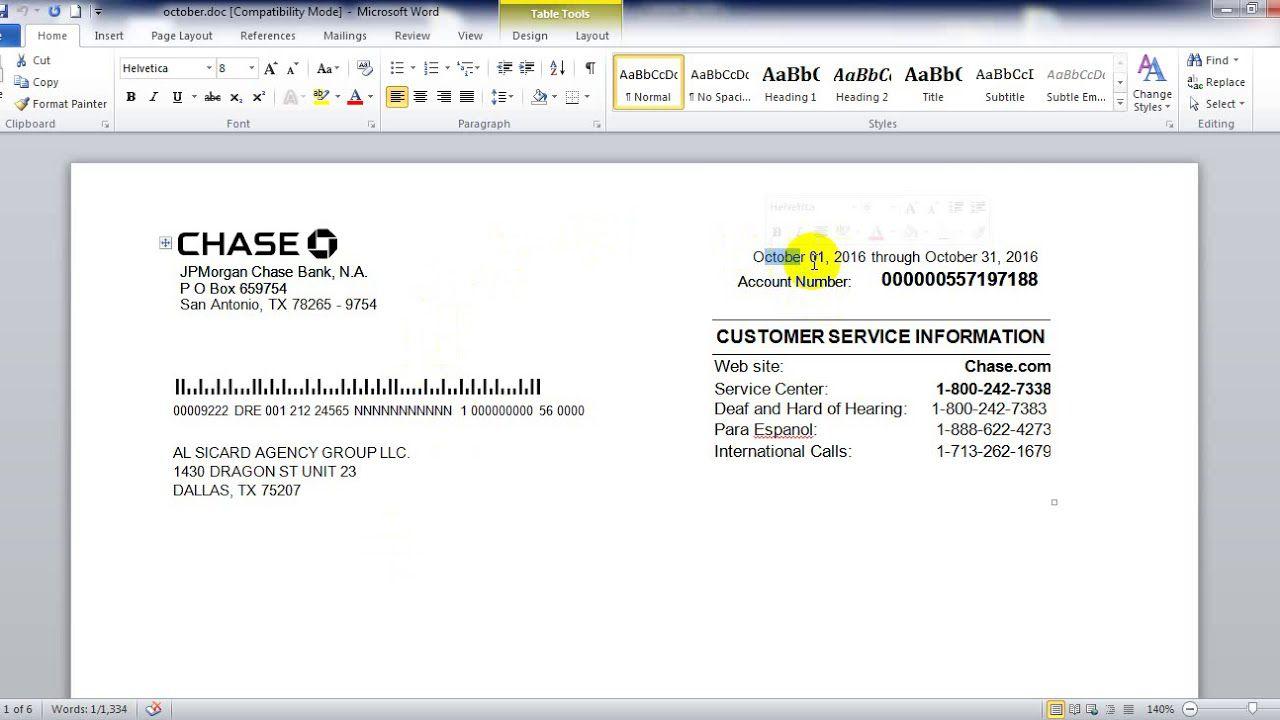 009 Singular Fake Chase Bank Statement Template Sample  Free CreateFull