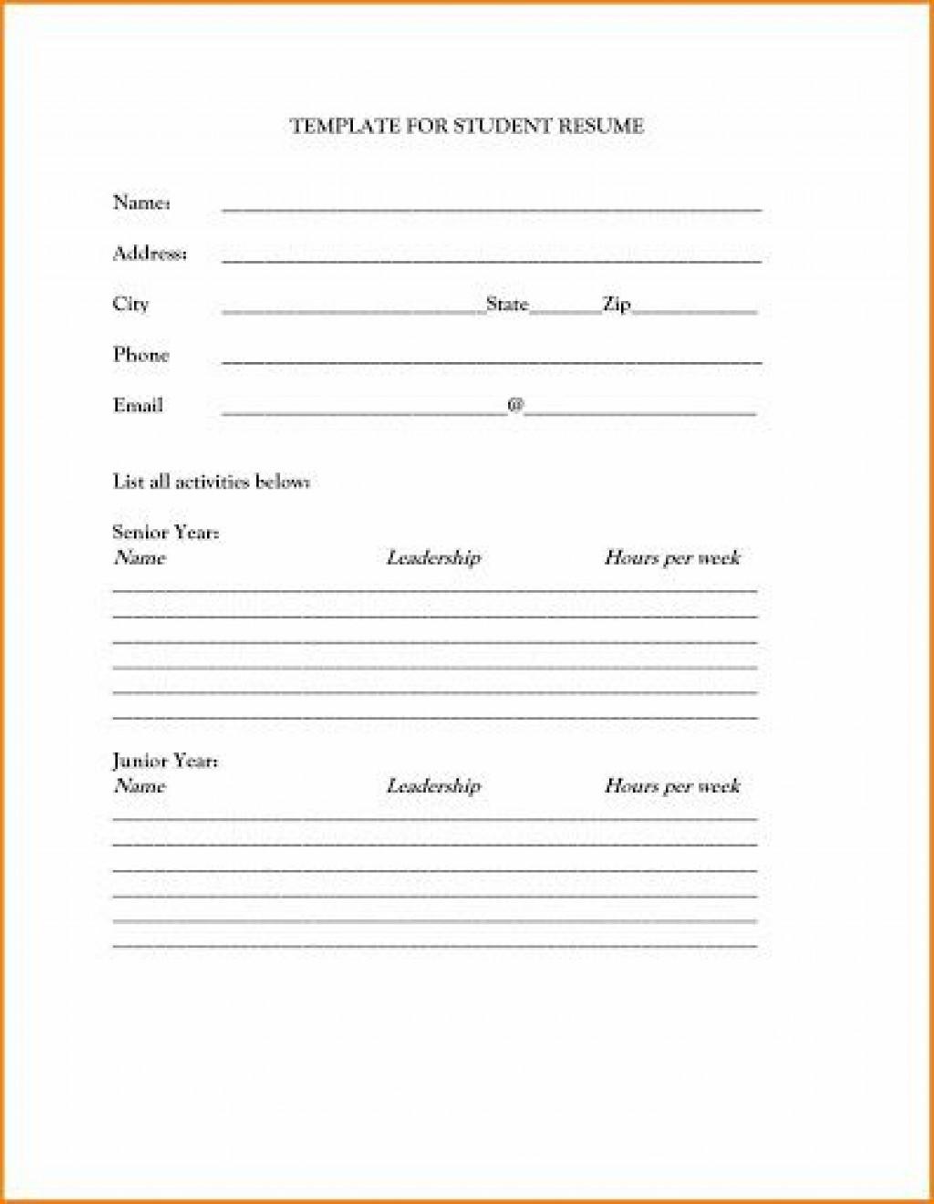 009 Singular Free Basic Blank Resume Template Sample  Templates Word Printable To PrintLarge