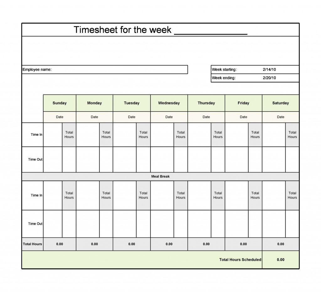 009 Singular Operation Employee Time Card Excel Template Image Large