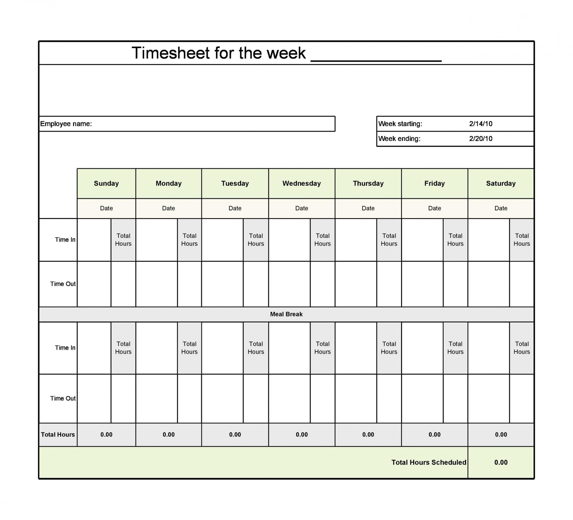 009 Singular Operation Employee Time Card Excel Template Image 1920