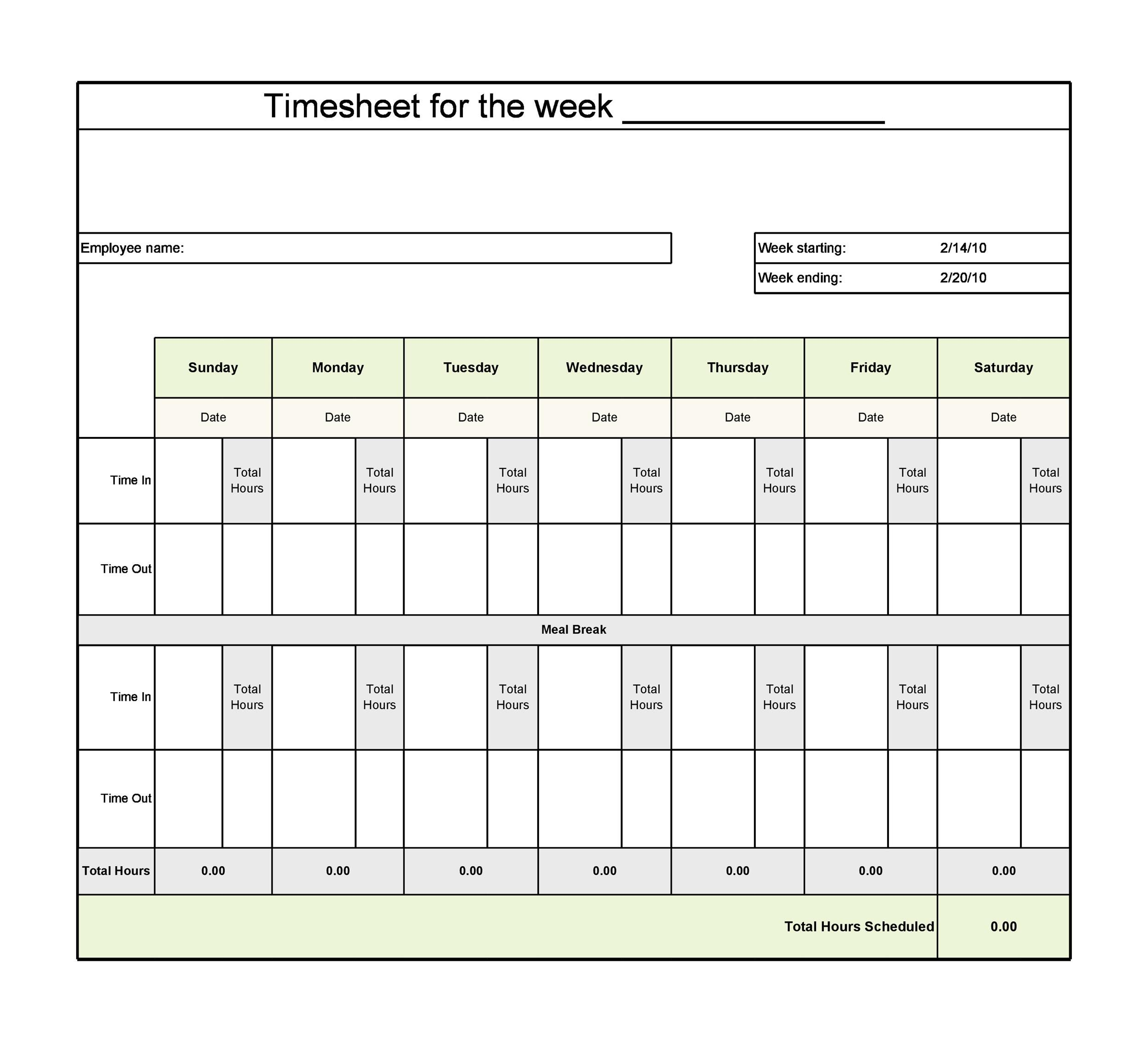 009 Singular Operation Employee Time Card Excel Template Image Full