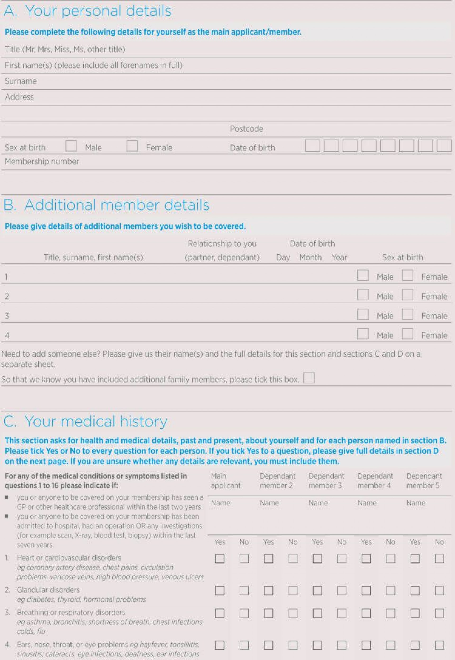 Personal Medical History Form Template Addictionary