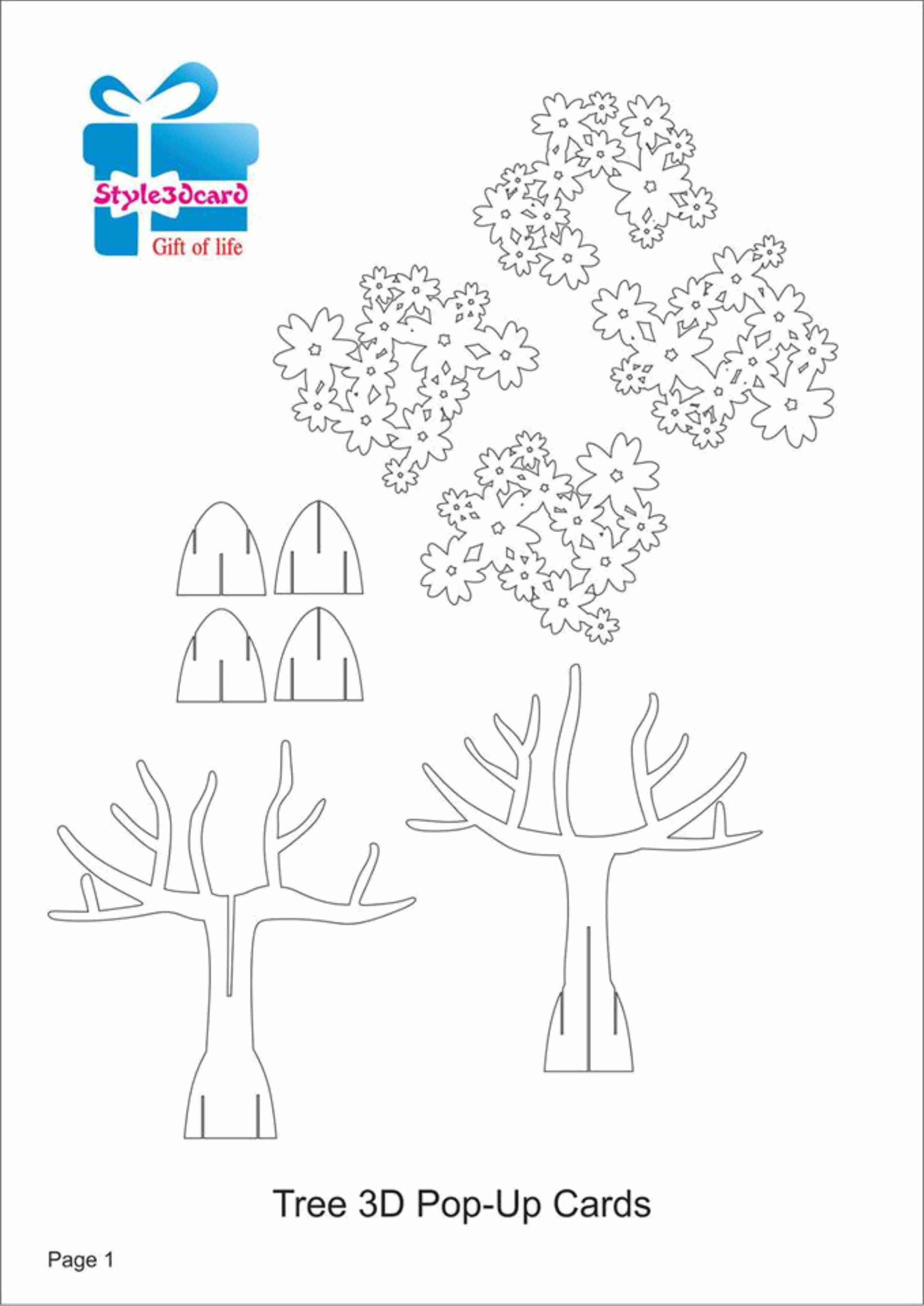 009 Singular Pop Up Card Template Picture  Templates Birthday Free Download Printable FlowerFull