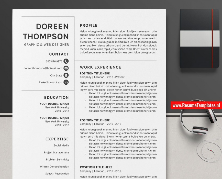 009 Singular Simple Professional Cv Template Word Picture