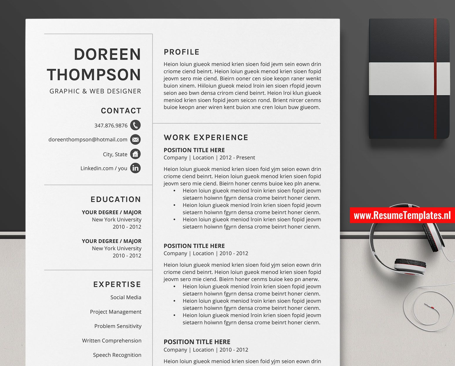 009 Singular Simple Professional Cv Template Word Picture Full