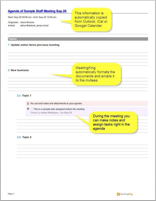 009 Singular Staff Meeting Agenda Template Highest Clarity  Outline Format Pdf