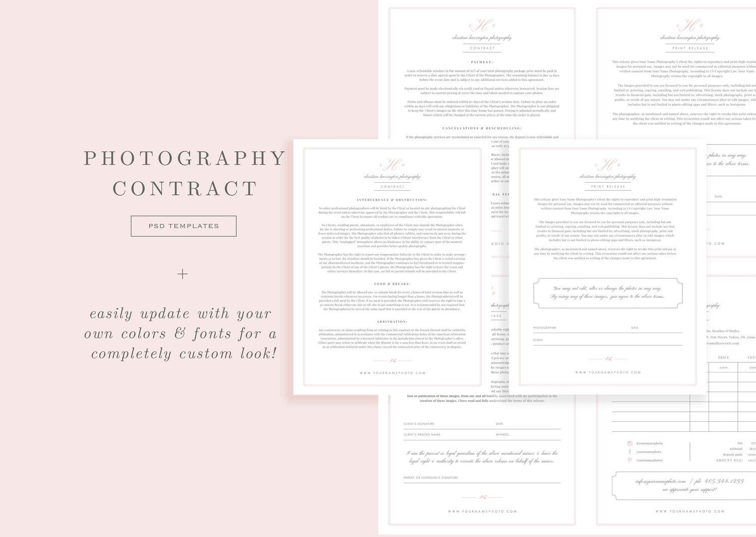 009 Singular Wedding Photographer Contract Template Free Highest Clarity  Simple Photography WordFull