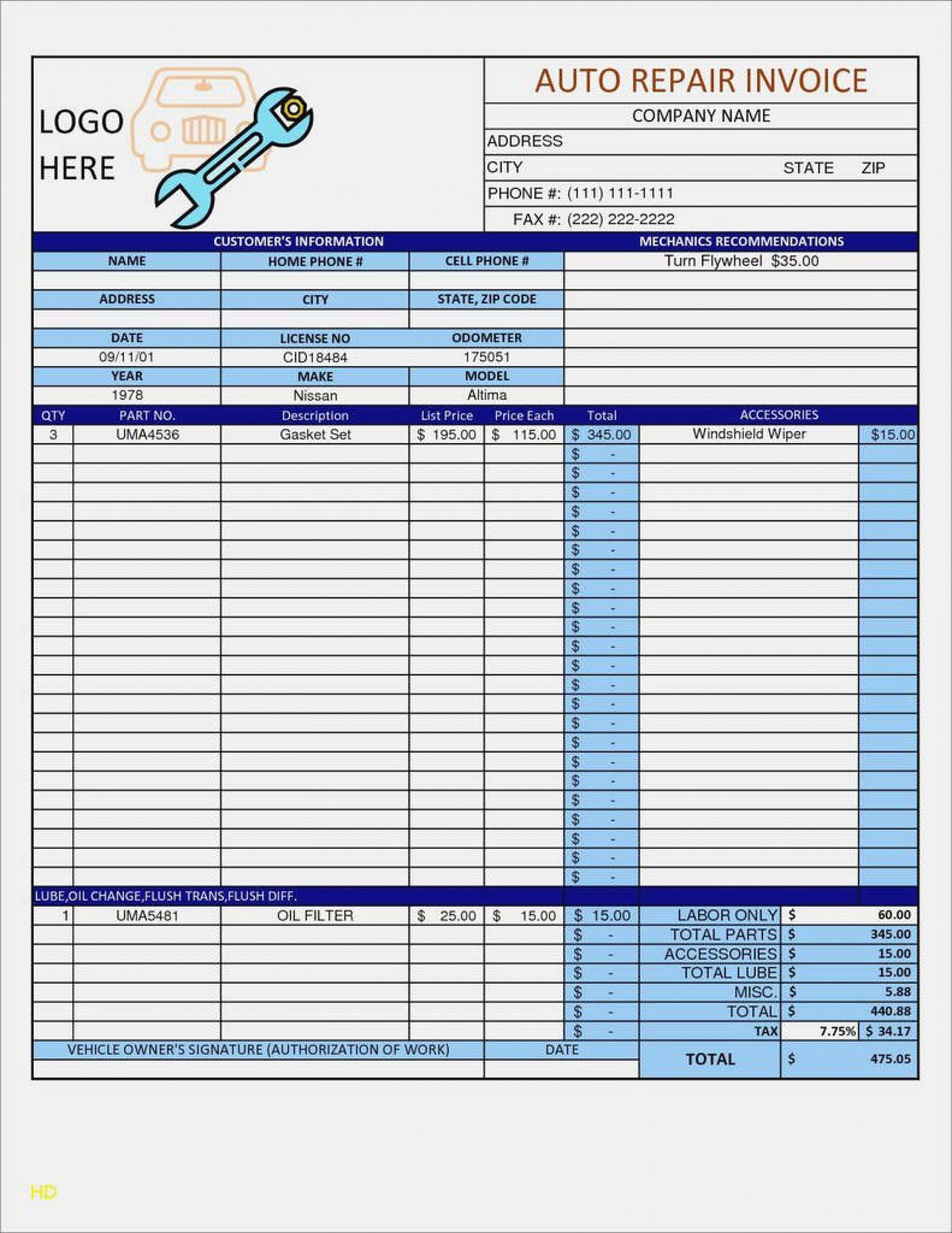 009 Staggering Auto Repair Invoice Template Free High Def  Excel Printable Pdf1920