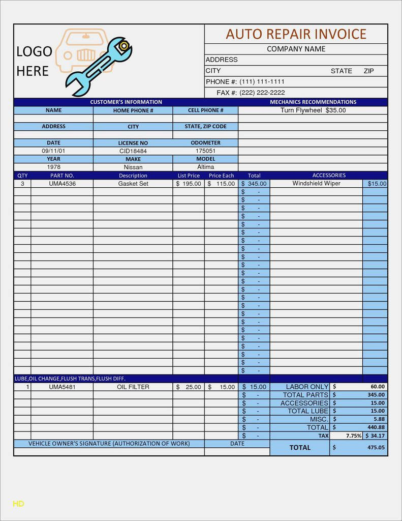 009 Staggering Auto Repair Invoice Template Free High Def  Excel Printable PdfFull