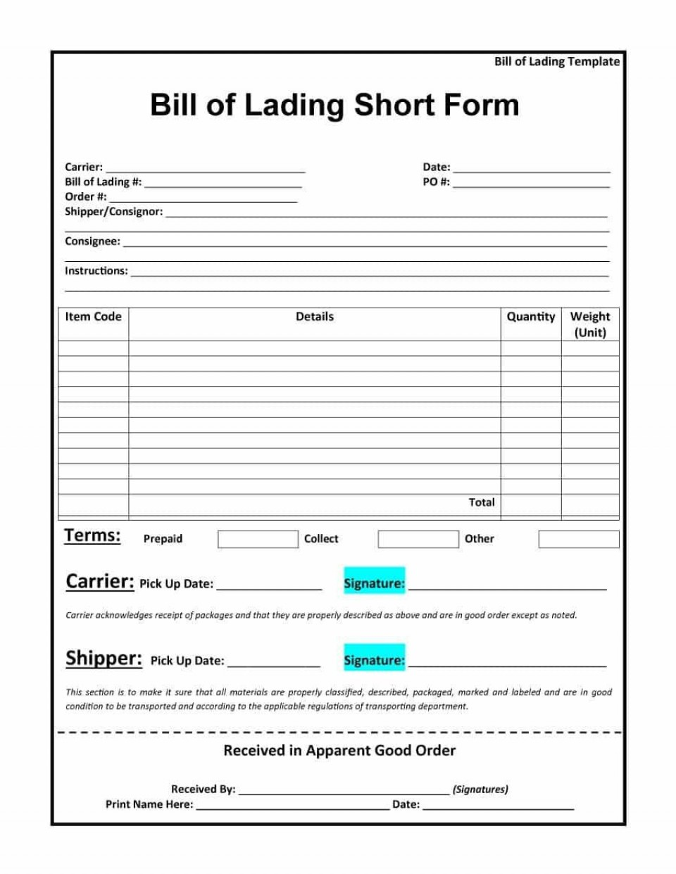 009 Staggering Bill Of Lading Form Word Highest Quality  Document Short House Template960