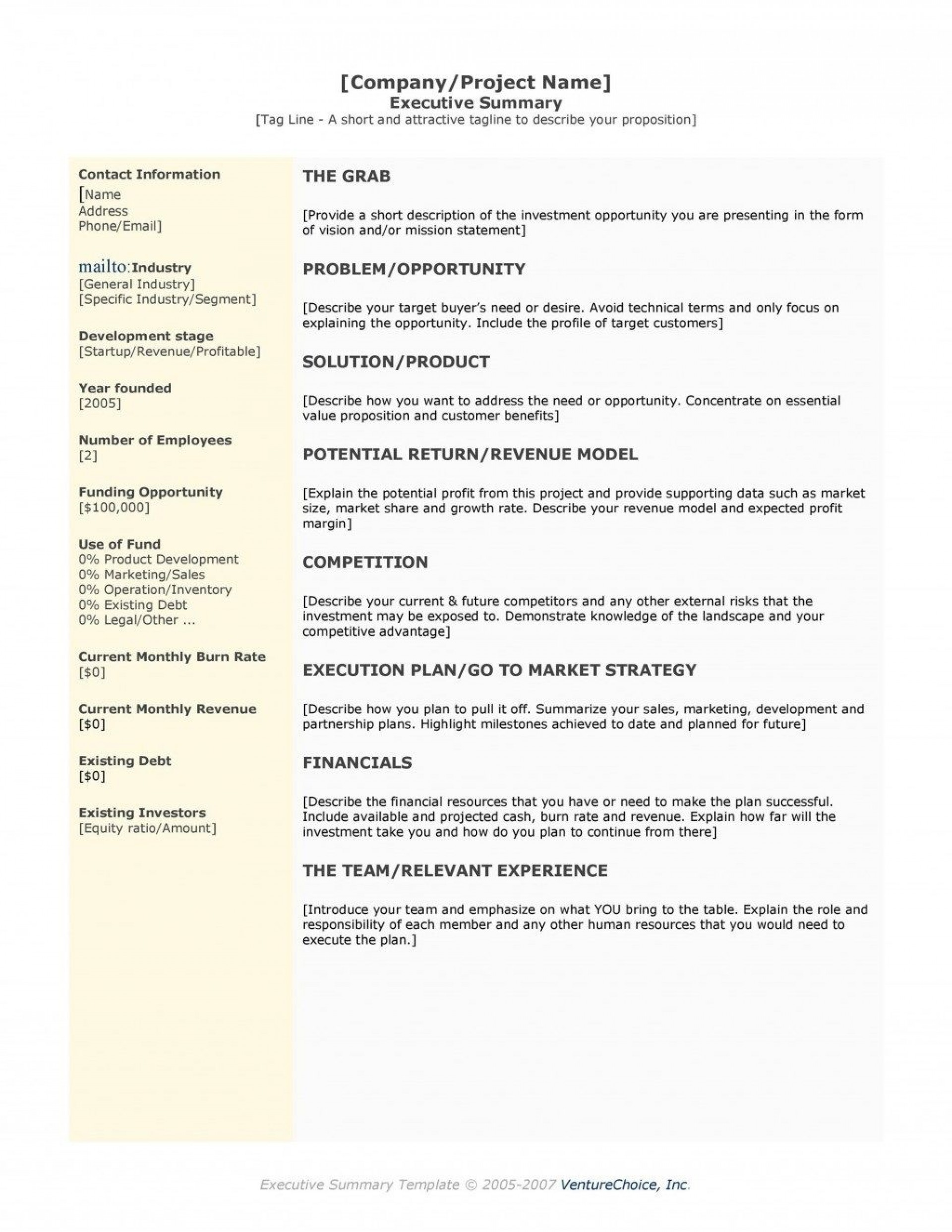009 Staggering Busines Plan Executive Summary Template Word Design 1920