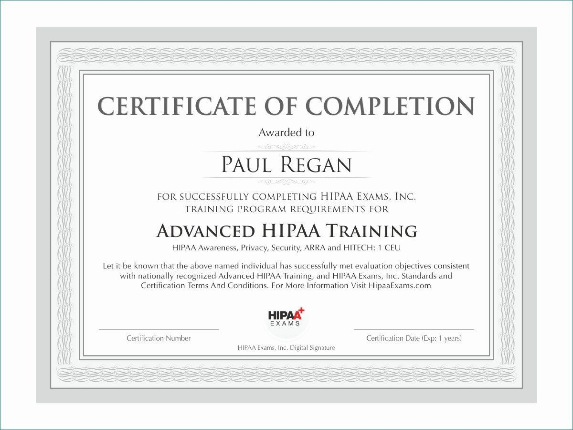 009 Staggering Certificate Of Completion Template Free Sample  Training Download Word1920