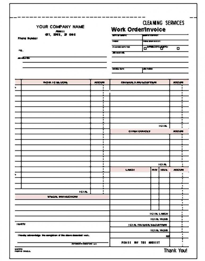 009 Staggering Cleaning Service Invoice Template Design  Uk