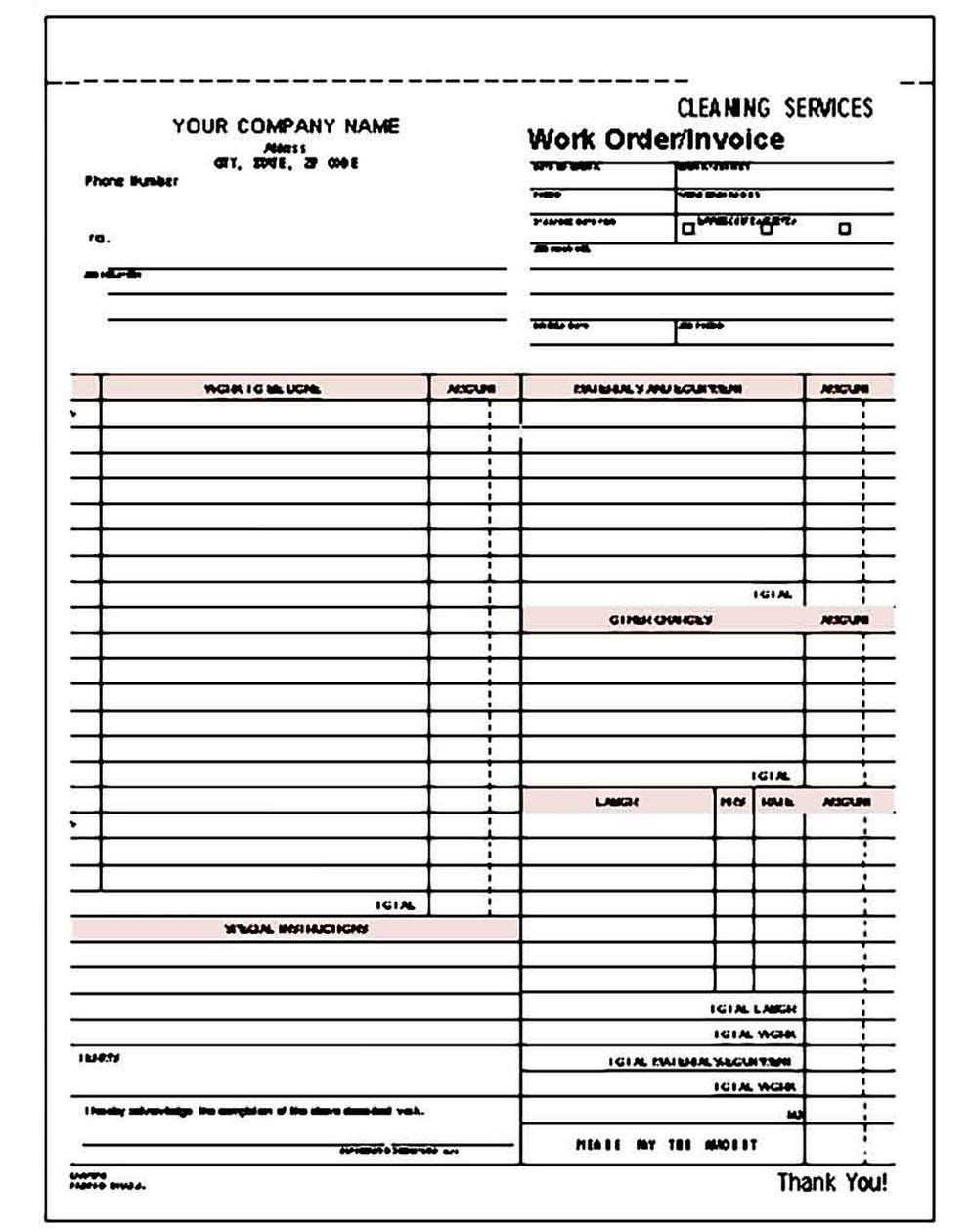 009 Staggering Cleaning Service Invoice Template Design  UkFull