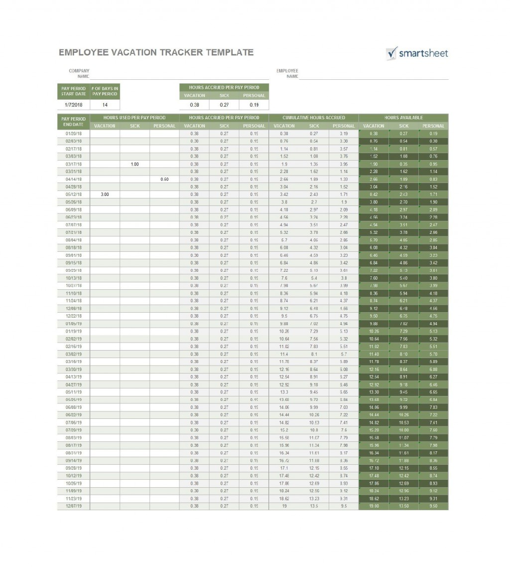 009 Staggering Excel Pto Tracker Template Sample  Employee Vacation Spreadsheet 2019 FreeLarge