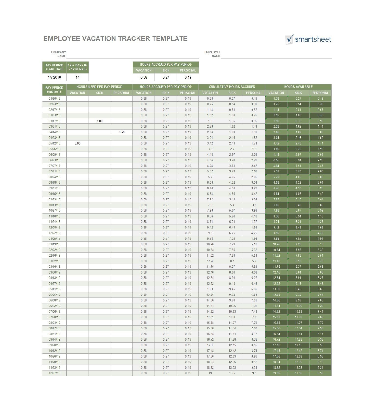 009 Staggering Excel Pto Tracker Template Sample  Employee Vacation Spreadsheet 2019 FreeFull