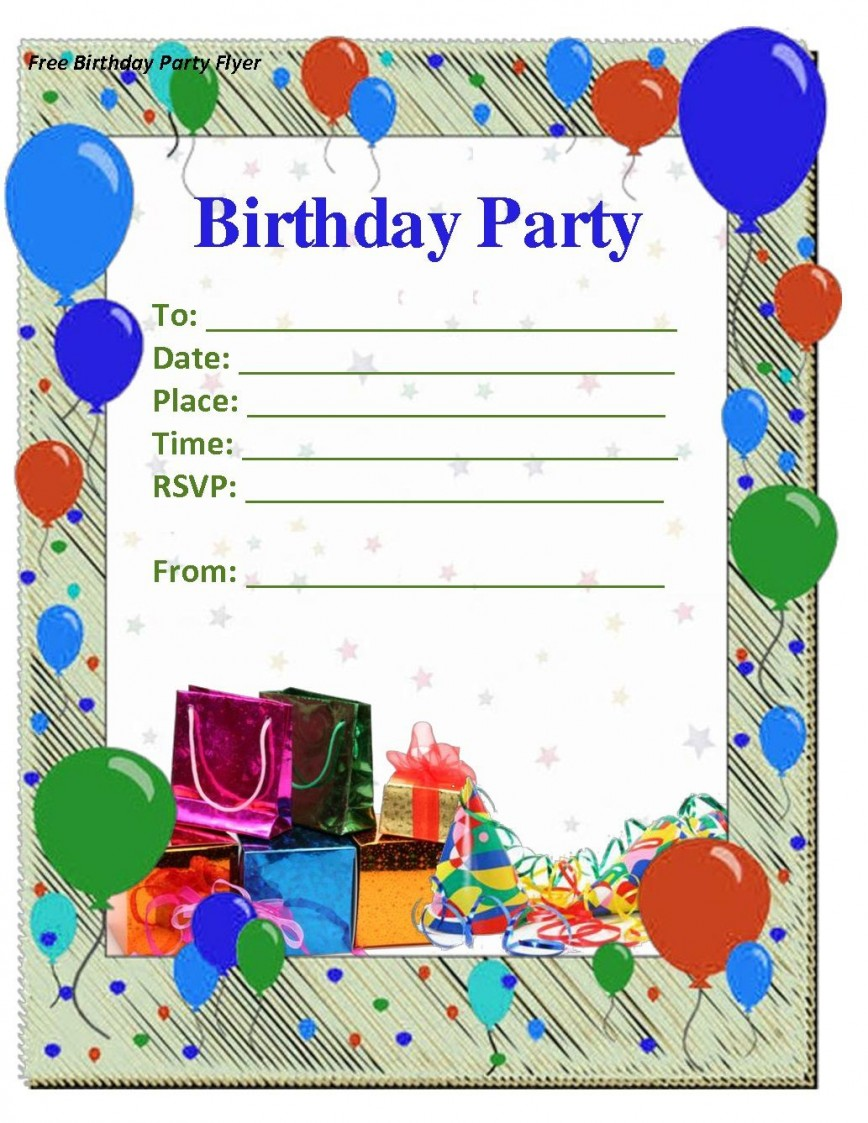 009 Staggering Free Birthday Party Invitation Template For Word Idea 868