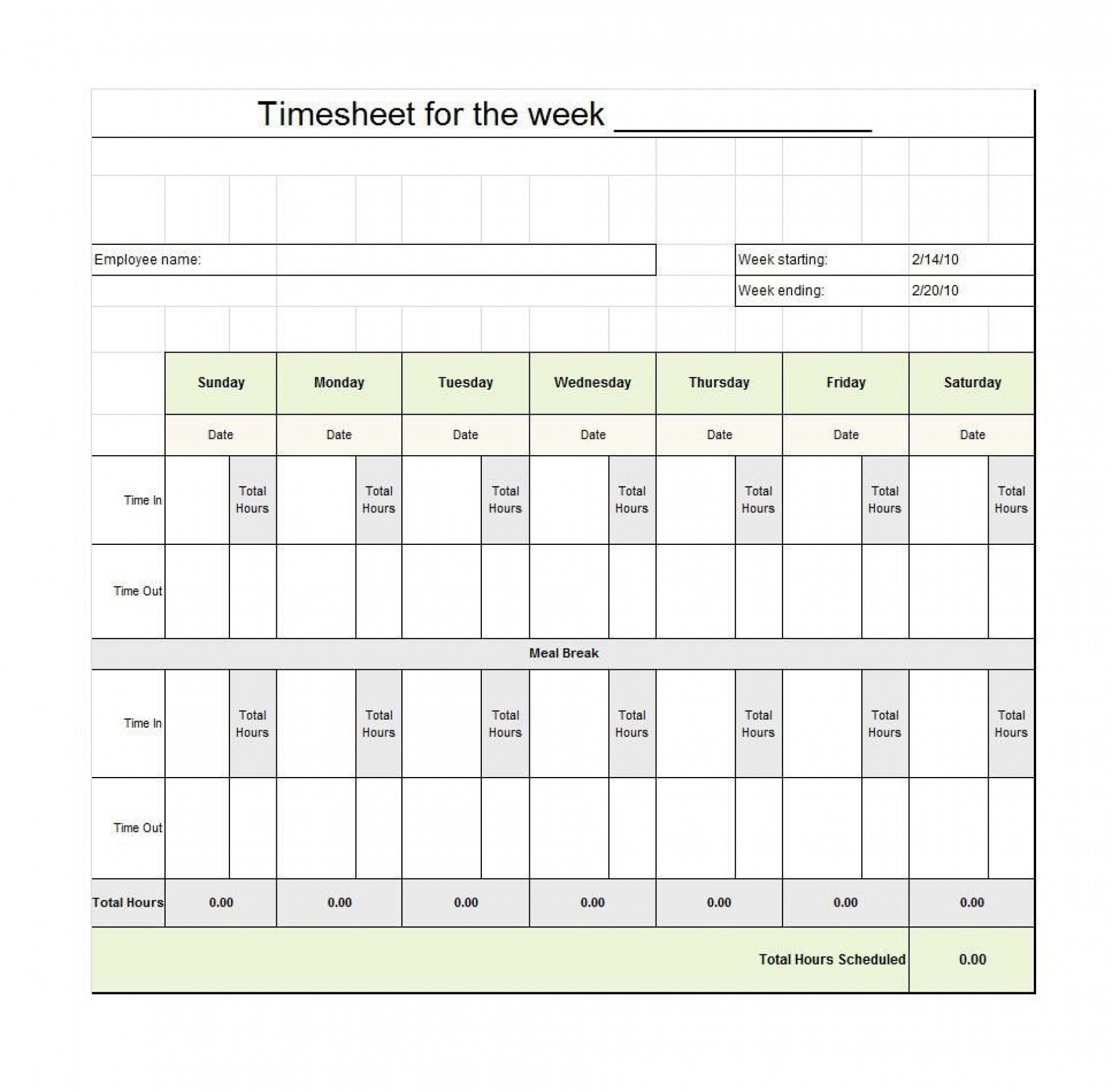 009 Staggering Free Employee Sign In Sheet Template Inspiration  Schedule Pdf Weekly Timesheet Printable1920