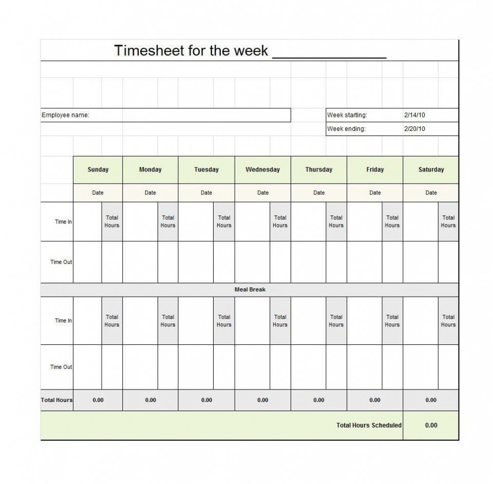 009 Staggering Free Employee Sign In Sheet Template Inspiration  Schedule Pdf Weekly Timesheet Printable960