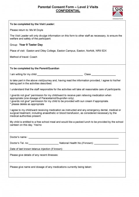009 Staggering Free Parental Medical Consent Form Template High Definition 480