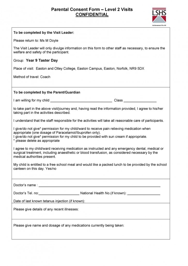 009 Staggering Free Parental Medical Consent Form Template High Definition 728