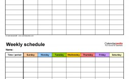 009 Staggering One Week Schedule Template Concept  Calendar Word Agenda