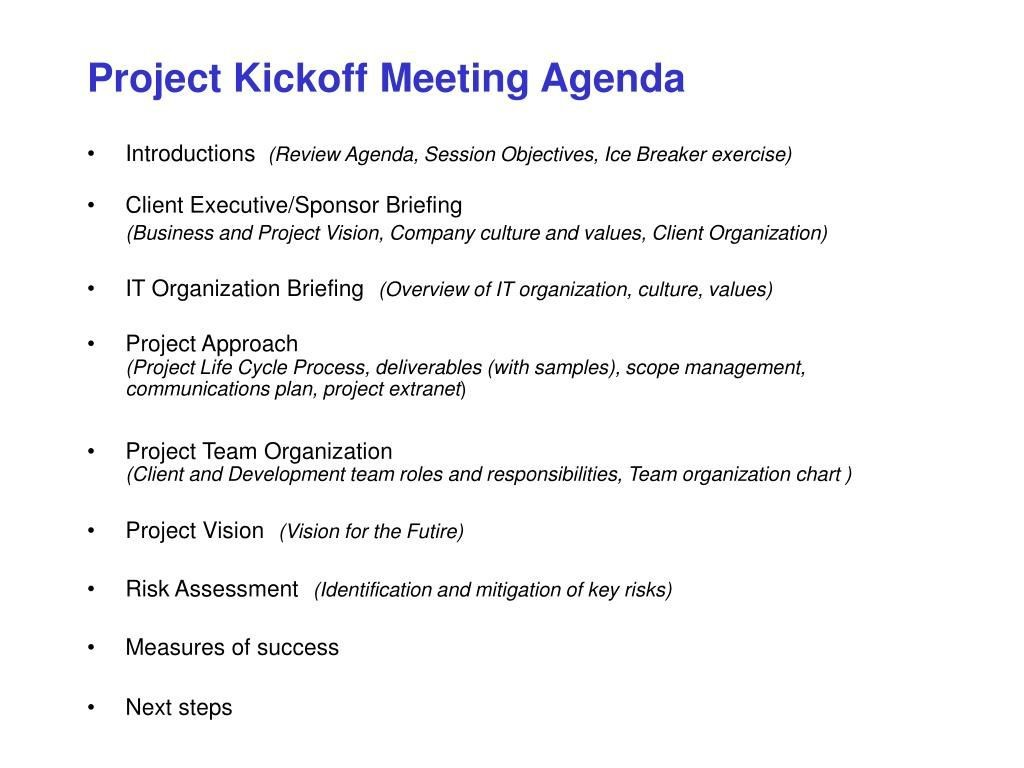 009 Staggering Project Management Kick Off Meeting Agenda Template Photo  KickoffLarge
