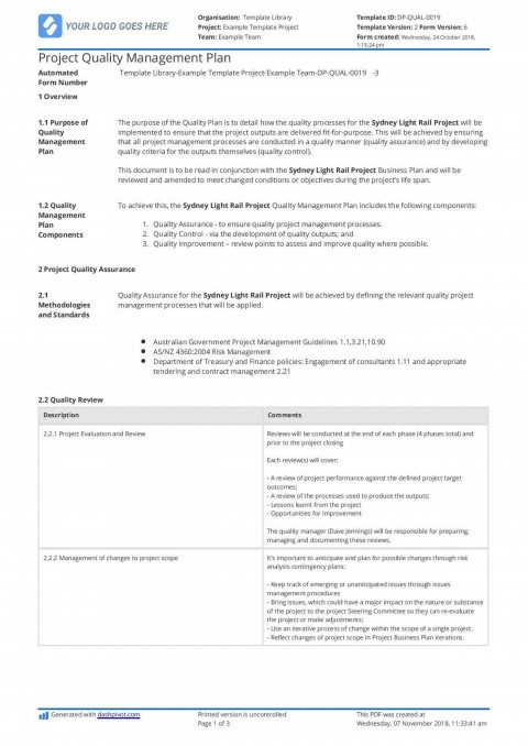 009 Staggering Project Management Plan Template Pmi Design  Quality Pmbok480