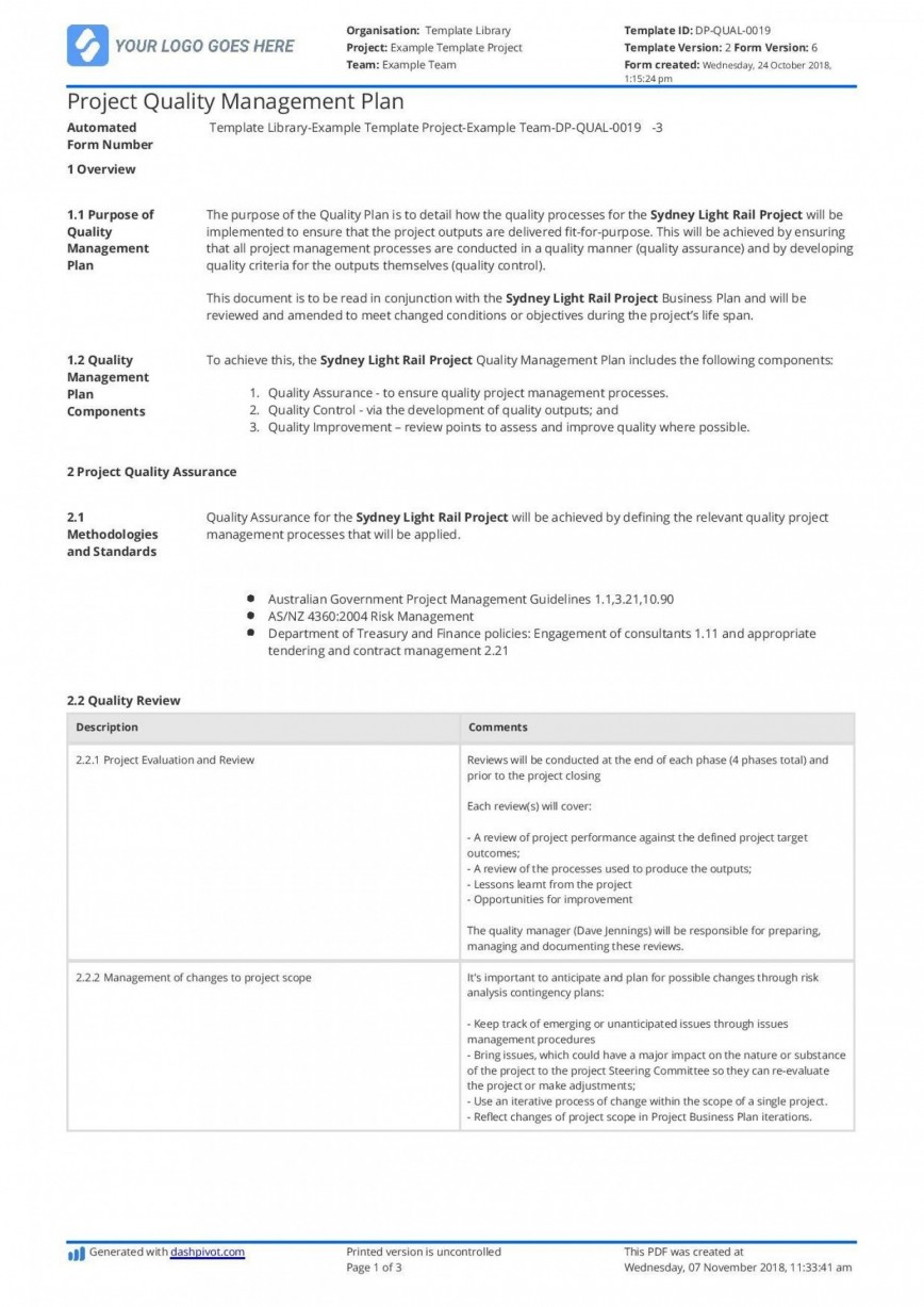 009 Staggering Project Management Plan Template Pmi Design  Quality868