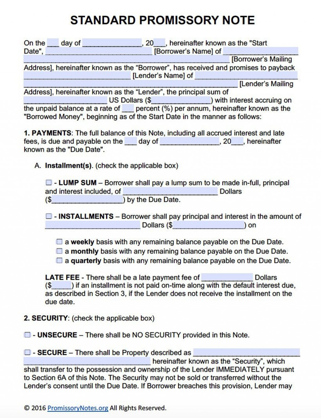 009 Staggering Promissory Note Template Free Image  Pdf Florida Blank FormLarge