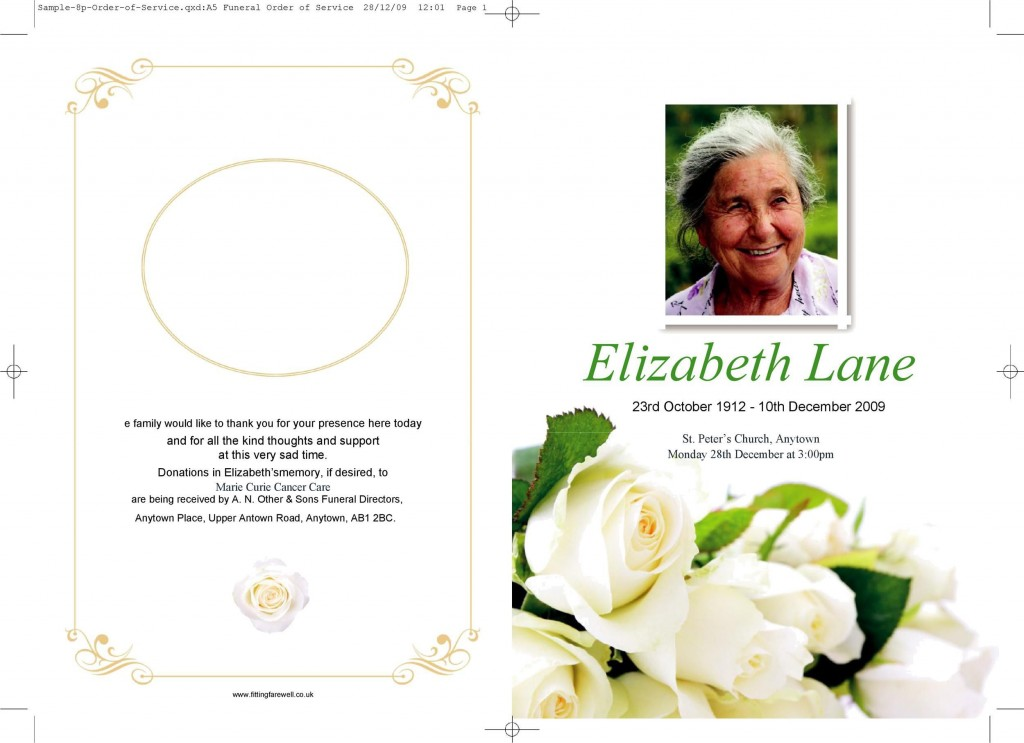 009 Staggering Sample Template For Funeral Program High Def Large