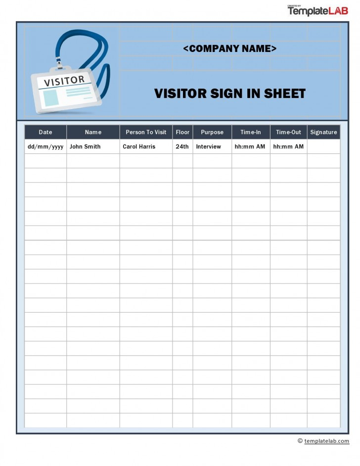 009 Staggering Visitor Sign In Sheet Template Pdf Photo 728