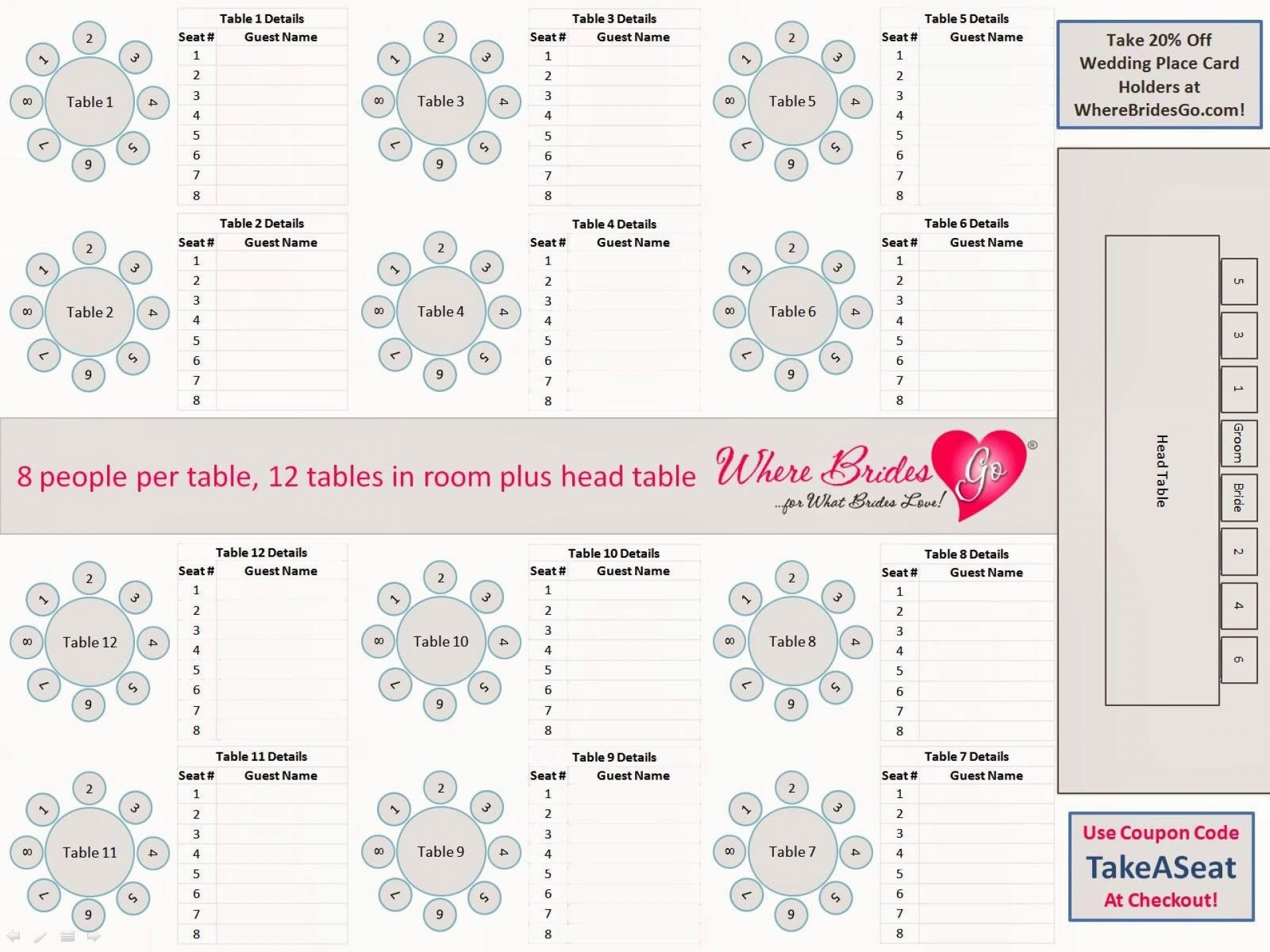 009 Staggering Wedding Seating Chart Template Excel Example  Microsoft Table Plan1920