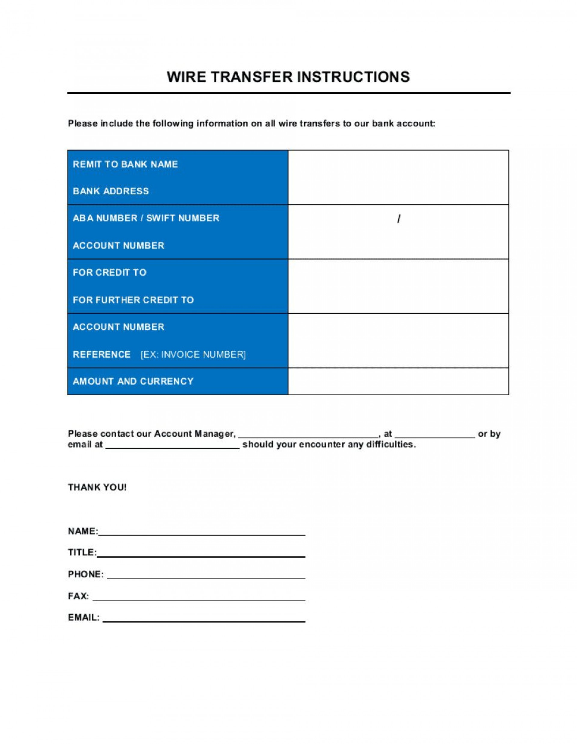 009 Staggering Wire Transfer Instruction Template Idea  Request Form Chase International1920