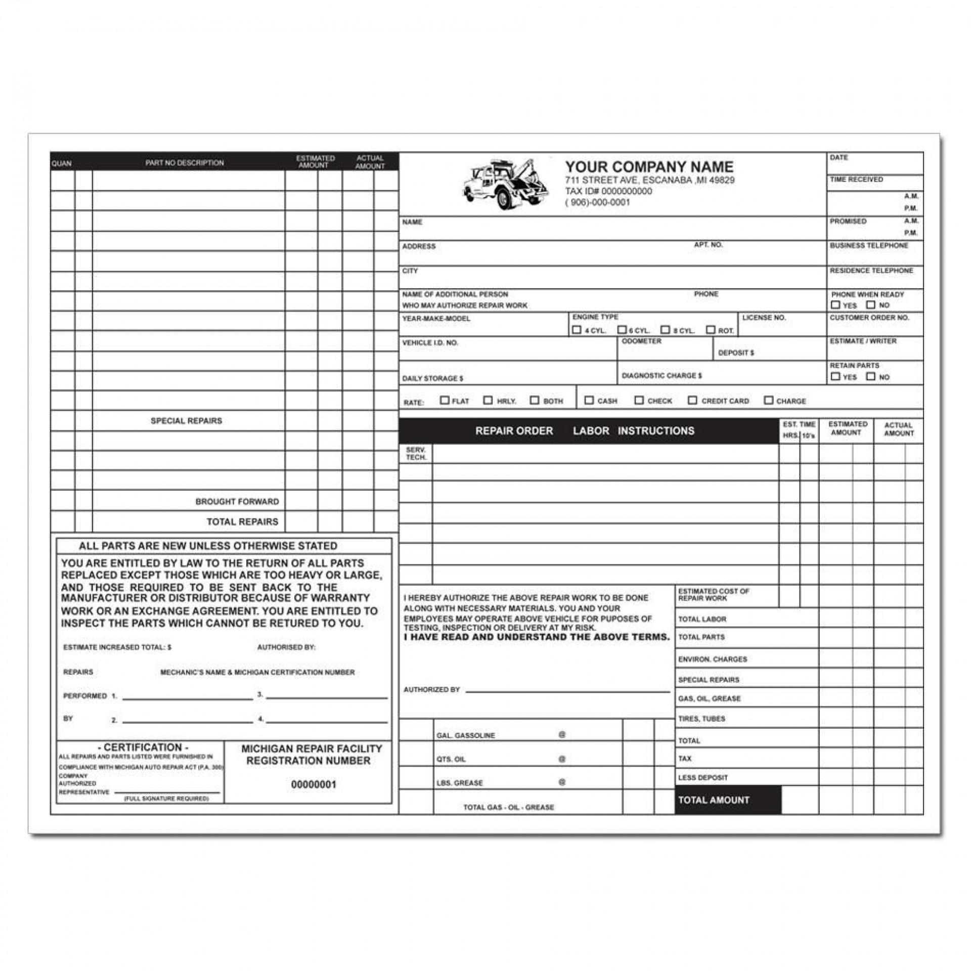 009 Stirring Automotive Repair Invoice Template Picture  Free Auto Pdf Car Form1920